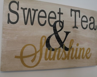 Sweet Tea and Sunshine hand painted wood sign.  Southern Sayings. Southern Sign
