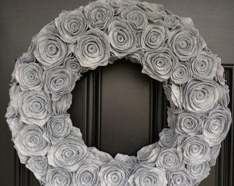 """Handmade Grey Felt Rosette Wreath. 20"""". Felt Wreath. Flower Wreath. Front Door Decor. Door Hanging. Wall Hanging. Custom. Christmas Wreath"""