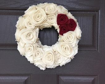Handmade Felt Rosette Wreath