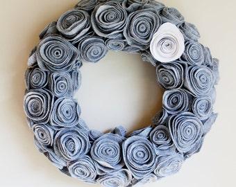 Gray Felt Flower Rosette Wreath.