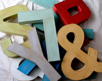 """12"""" Hand Painted Vintage Farmhouse Style Letters. Custom Word Art. Paper Mache Letters.Customize your own word. Painted Letters"""