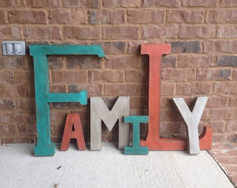 Painted Distressed Letters.  Family Typography Art. Family Home Decor. Rustic Letters. Paper Mache Letters. Painted Letters.