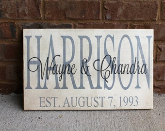 Personalized Family Name wood sign. Hand painted sign. Family name sign. Wedding gift. Engagement gift. Custom sign. Wood Sign. Established