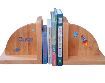 Personalized Childrens Rocket Bookends Kids Natural Wood Book Ends Storage Shelf Childs Room Nursery Baby Gift Rockets Planets