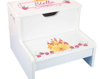 Strange Girls Personalized Princess Step Stool With Storage Child Gamerscity Chair Design For Home Gamerscityorg