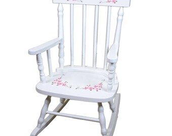 Bon Personalized Pink And Gray Butterflies White Childrens Rocking Chair Pink  And Gray Pinks U0026 Gray Grey Garden Feminine Spin Whi 304c