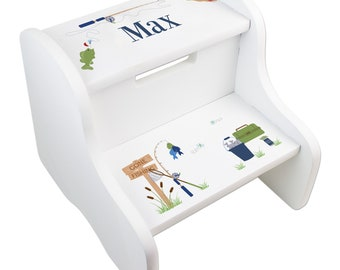 Personalized Gone Fishing Childrens Stool White Two Step Stool Bathroom  Fish Theme Fisherman Lake House Boat FIXE Whi 248