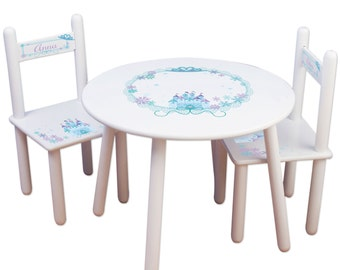 Girls Princess Table & Chair Set Frozen Kids Furniture