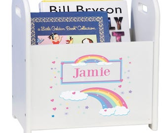 Personalized Rainbow Book Storage Book Caddy Magazine Rack Coloring Books Holder Pastel Rainbow Design cadd-whi-235b  sc 1 st  Etsy & Coloring caddy | Etsy