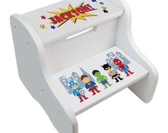 Childrens step stool etsy kids personalized superhero step stool great for super hero boys room two steps white great for toddler super heroes baby gift fixe whi227 negle Choice Image