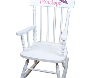 Personalized Childs White Rocking Chair W Name Nursery Furniture Toddler  Baby Girl Boy Kids Custom Spindal Rocking Chairs Rocker SPIN Whi