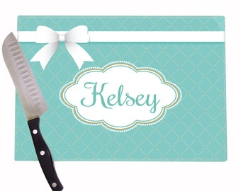 Personalized Cutting Board Tiffany Bow Box For Her Engagement Gift Bride Shower Customized Blue Glass Boards Girl CUTB 448