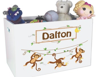 0703808f59a32 Personalized Monkey Boy Toy Box for Safari Zoo Jungle Theme Decor Nursery  White Toy Bin Toys Storage Childrens Toybox Monkeys Gift YBIN-249
