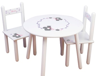 Kids Table And Chair Set Kids Furniture Play Room Kitty Cat Personalized  Cats Girlu0027s Kitten Nursery Bedroom Round Table Chairs Pets TABLESET