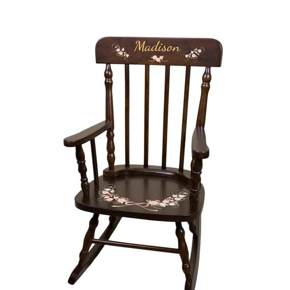 Stupendous Personalized Childs Cherry Wood Rocking Chair Blush Gold Girls Soft Pastel Blush Nursery Room Custom Childs Rocker Floral Wreath Spin Esp Gmtry Best Dining Table And Chair Ideas Images Gmtryco