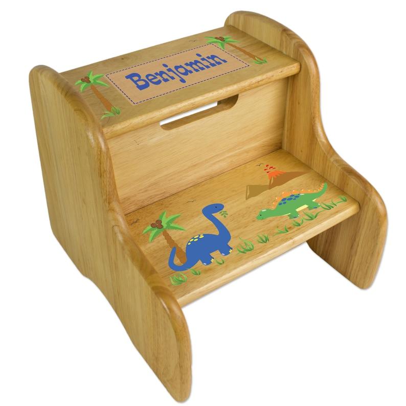 Personalized Dinosaur Stool Custom Natural Wood w Two Steps for BoysDino Bath Bed or Nursery Dino Jurassic Park Room Decor FIXE-nat-217
