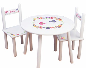 Childs Table U0026 Chair Set   Childrens Furniture Butterfly Flower Decor For  Girls Bedroom Playroom Round