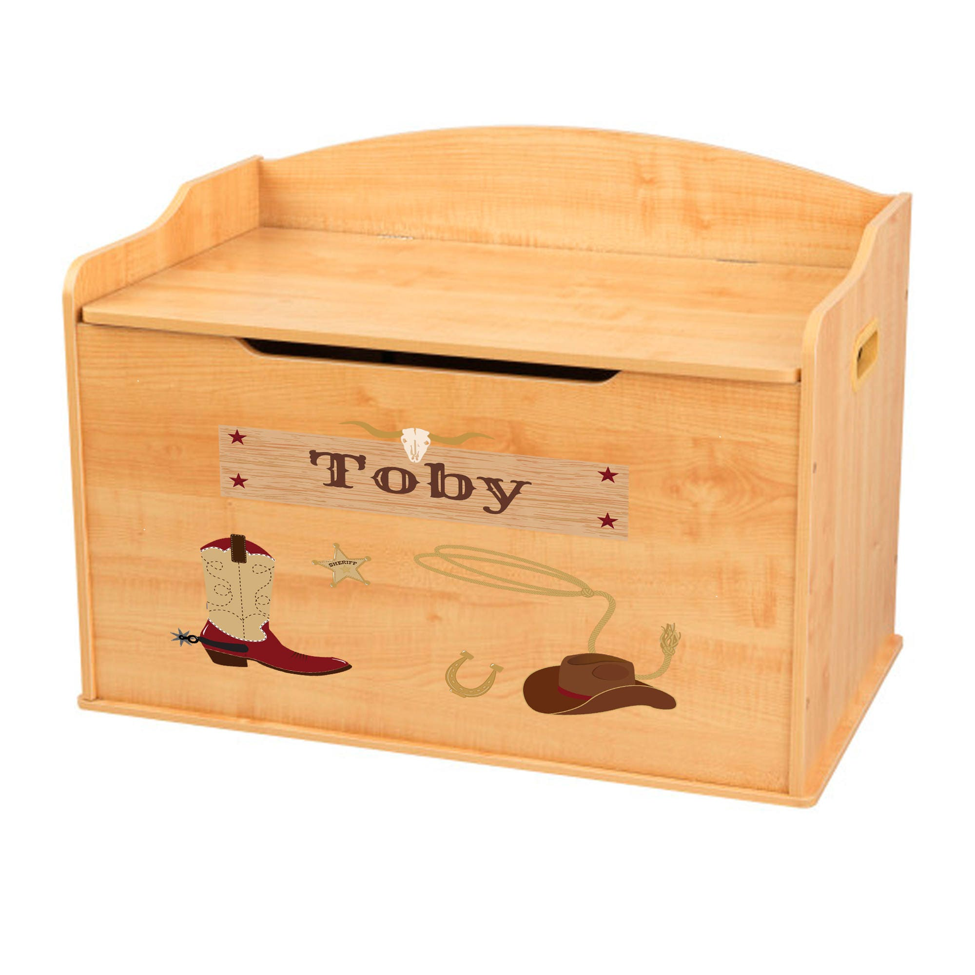 personalized wild west natural toy box bench wood toybox kidkraft custom  toy chest for boys girl playroom baby gift nursery benc-kk-nat-247