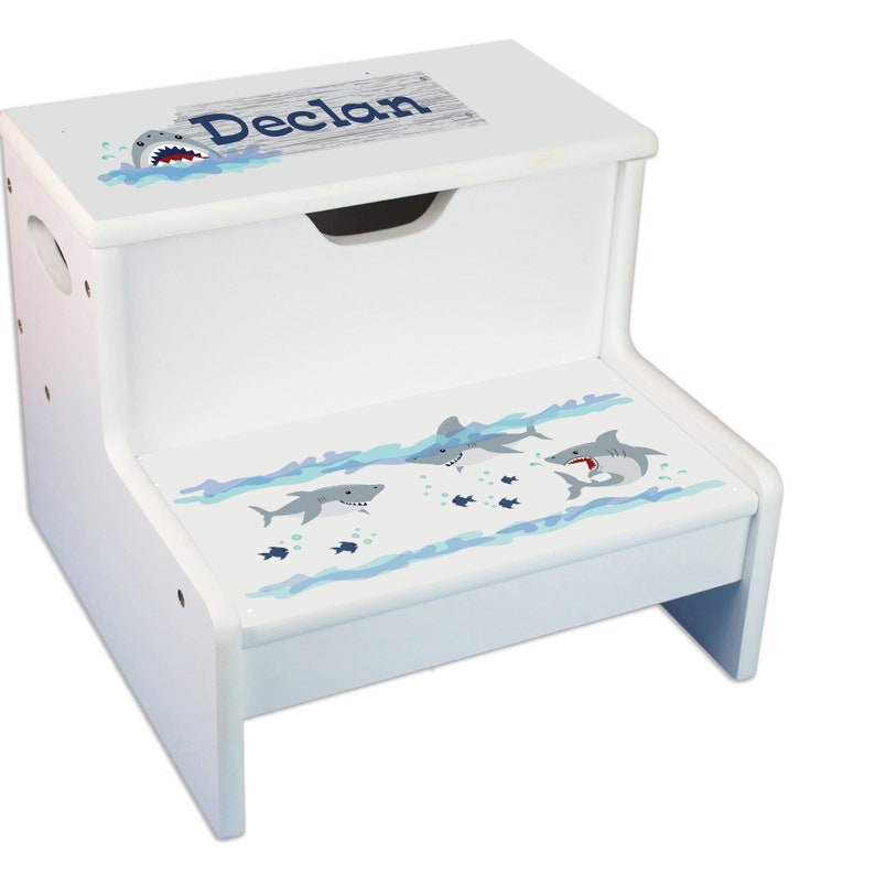 Awesome Personalized Shark Step Stool For Bed Or Bath Steps And Store White Storage Stools Toddlers Bathroom Potty Sharks Theme Gift Step Whi 237 Pdpeps Interior Chair Design Pdpepsorg