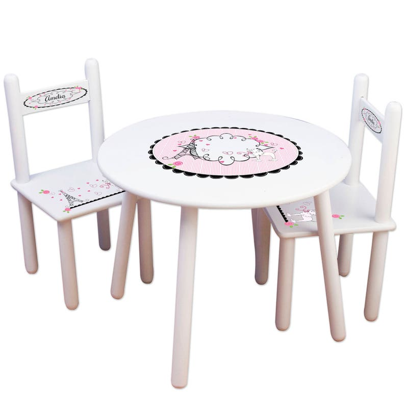 Girls Cafe Table & Chair Set Custom French Bistro Round Child\'s Table  Personalized Chairs for Paris Boutique Room Decor Pink TABLESETRND315