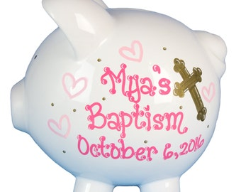 Girls Baptism Piggy Bank Hand Painted Personalized White Ceramic Piggy Banks Customized w Cross & Christening Date Baby Girl PIGG-BAPTG