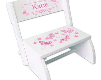 Pink Stool with Butterfly Design and Child's Name Personalized White Flip Folding STEP Stools Butterflies pastel Granddaughter STOO-whi-300a