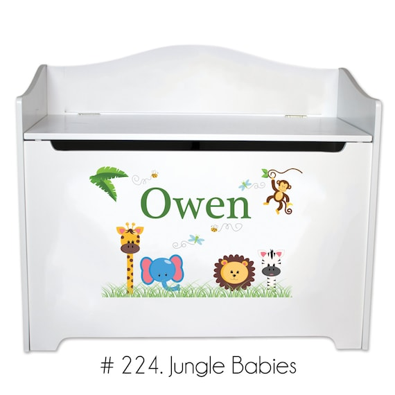 Marvelous Personalized Toy Box For Boys Kids Toybox Bench Toy Storage Toy Chest In White W Cars Trains Sports Childs Toy Bin Toy Boxes Lid Toys Benc W Inzonedesignstudio Interior Chair Design Inzonedesignstudiocom
