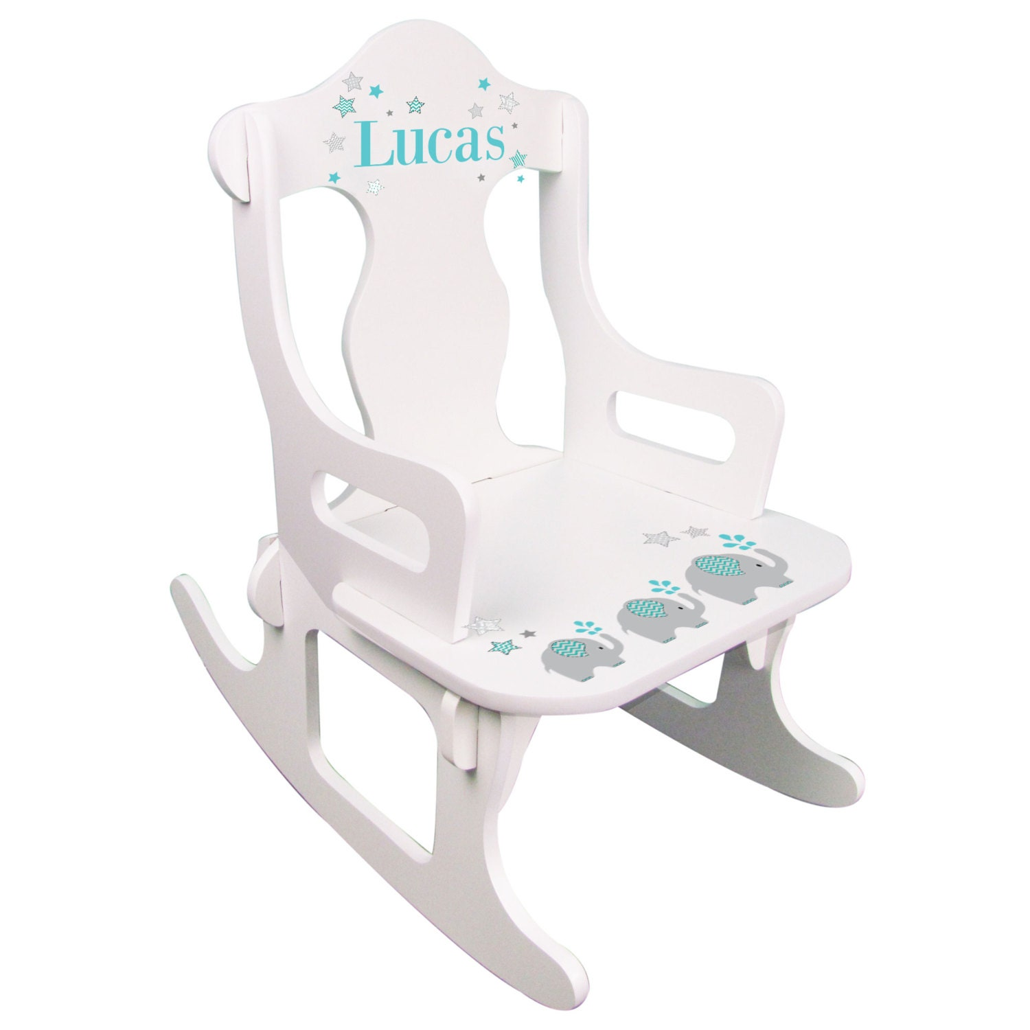 Personalized Elephant White Puzzle Rocking Chair With Child S Name On Kid S Rocker Toddler Baby Gift Elephant Nursery Elephants Puzz 303