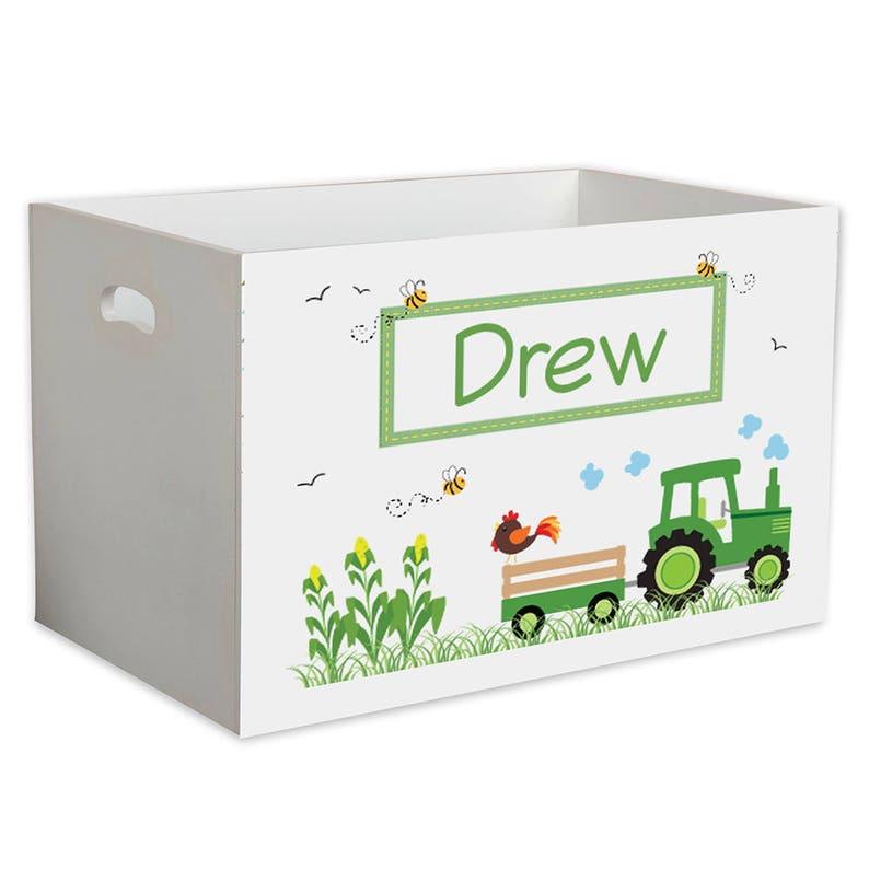 Personalized Tractor Childrens Nursery White Toy Box Equipment Farm Farmer Barn Country Barnyard Green Tractors Red Blue Western YBIN-211