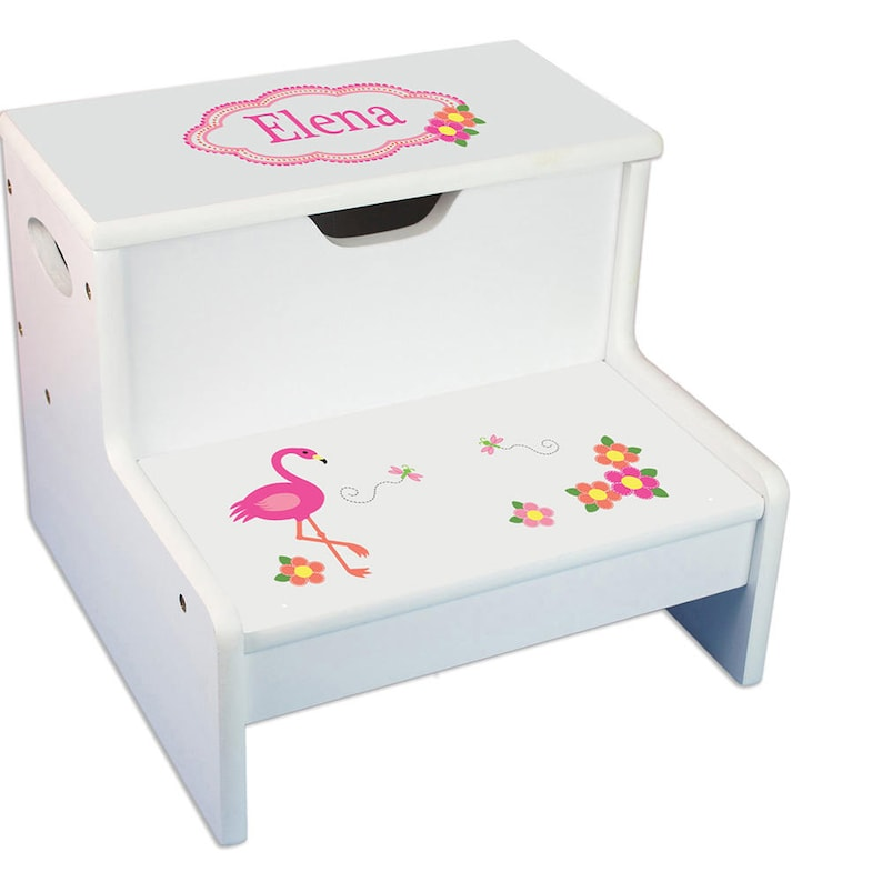Child\'s Pink Flamingo STEP Stool with Storage Personalized | Etsy