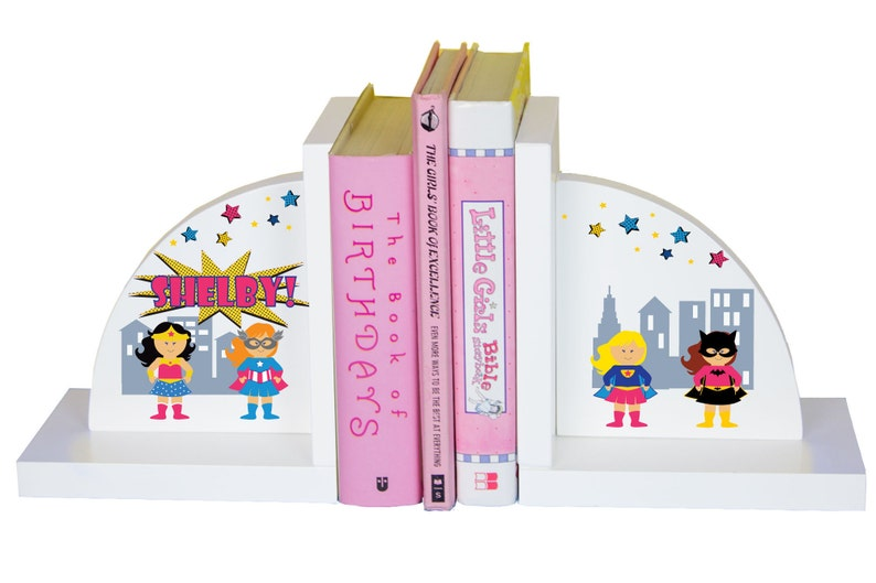 Personalized Super Girl Bookends Girl's Superhero Book Ends Supergirl Gift  Room Theme Decor Children's Books Playroom Nursery ENDS-227b