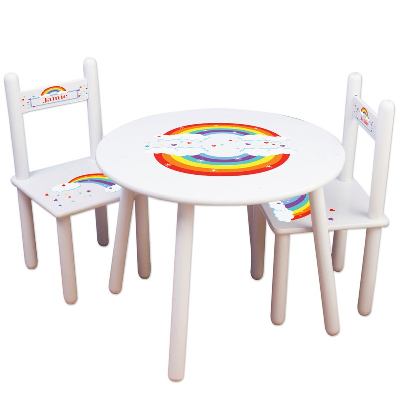 df6033e640197 Childs Rainbow Table & Chair Set Personalized Kids Furniture Playroom  Classroom Rainbows Primary colors Toddler Play Table TABLESETRND