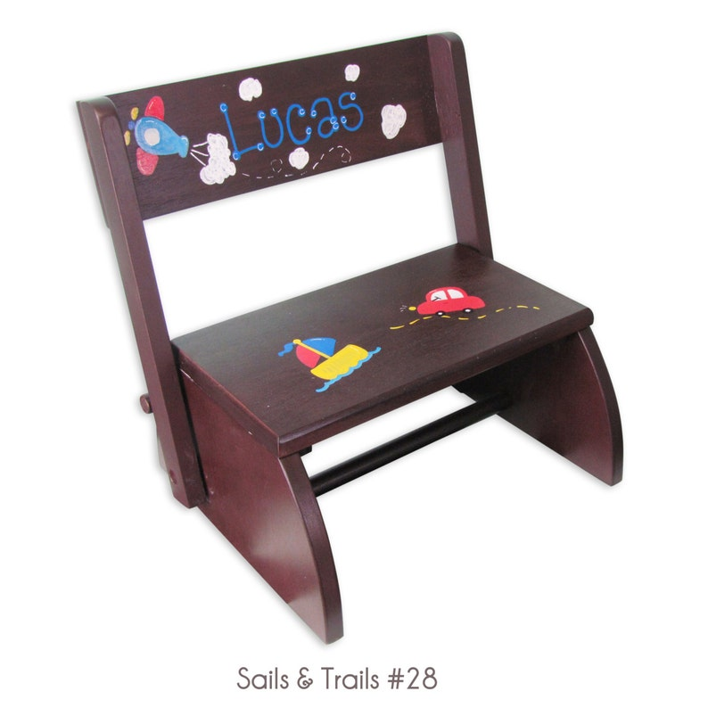 Enjoyable Childrens Hand Painted Step Stool Espresso Stain Personalized Folding Bench Chair For Kids Cherry Toddlers Stepping Stool Bench Stoo Esp Hp Creativecarmelina Interior Chair Design Creativecarmelinacom