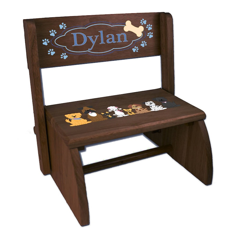 Personalized Blue Dogs Childrens and Toddlers Espresso Folding Stool Pups Theme Girl Girls Pinks And Brown Gift Breed STOO-esp-236b