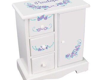 Personalized Girls Jewelry Armoire Lavender Floral Garland  Purple Lilac Jewelry Box Boxes with drawers White Wood Design jewee-whi-319d