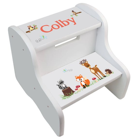 Personalized Coral Forest Animals White Two Step Stool