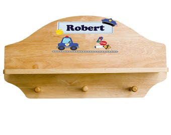 Personalized Wood Shelf with Three Pegs and Police Car Wooden Wall Shelves Child's Cop Nursery Boys Boy Playroom Rack SHEL-nat-215e