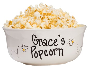 Hand Painted Personalized Popcorn Bowl Large Ceramic Pop Corn Bowls w Name Movie Night Hand Paint Popcorn Bowl Tub Bucket Sleepover POPOCER