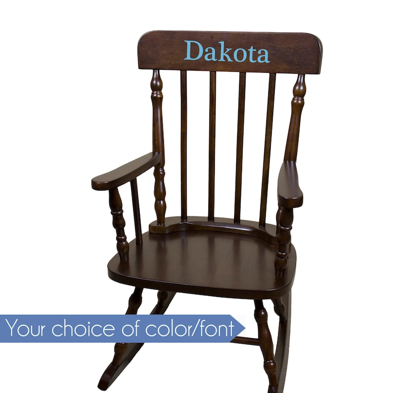 Brilliant Personalized Childs Rocking Chair With Just Name Nursery Furniture Girl Boy Kids Custom Spindal Rocking Chairs Rocker Cherry Wood Spin Esp Gmtry Best Dining Table And Chair Ideas Images Gmtryco