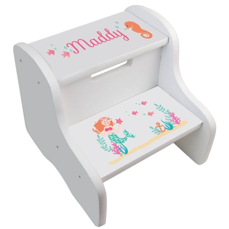 Superb Personalized Childrens Mermaid Two Step Stool For Sea Life Nursery Childs Room White Girls Custom Hair Color Mermaids Stools Fixe Whi 312 Machost Co Dining Chair Design Ideas Machostcouk