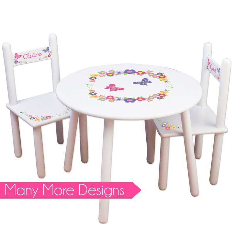 Girls Table U0026 Chair Set Personalized Tea Party Table Chairs Kids Furniture  Childs Table Personalized Bedroom Nursery Playroom TABLESETRND