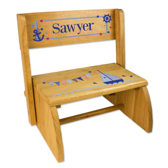 Awesome Personalized Sailboat Stool Childs Step Stool Wooden Folding Chair Flip Stool Bench Girls Boys Nautical Sail Boat Nursery Gift Stoo Nat 201 Ocoug Best Dining Table And Chair Ideas Images Ocougorg