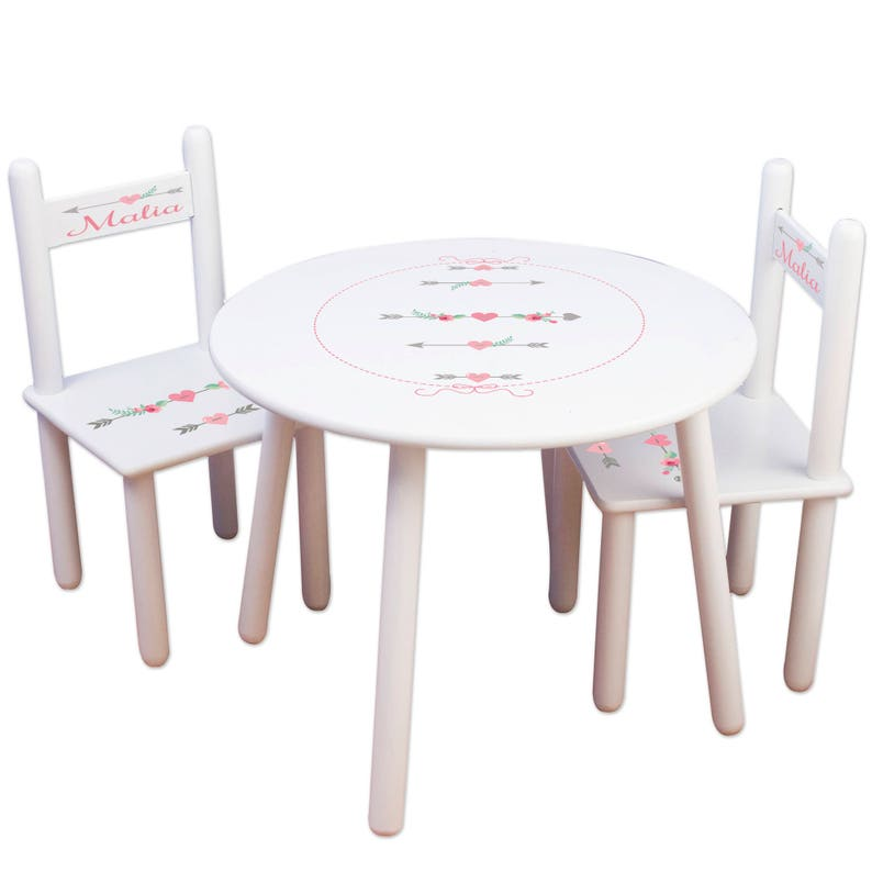 Tremendous Kids Table And Chair Set Kids Furniture Arrow Nursery Childs Round Table Personalized Chairs Tribal Arrow Decor Coral Mint Gray Tableset Gmtry Best Dining Table And Chair Ideas Images Gmtryco