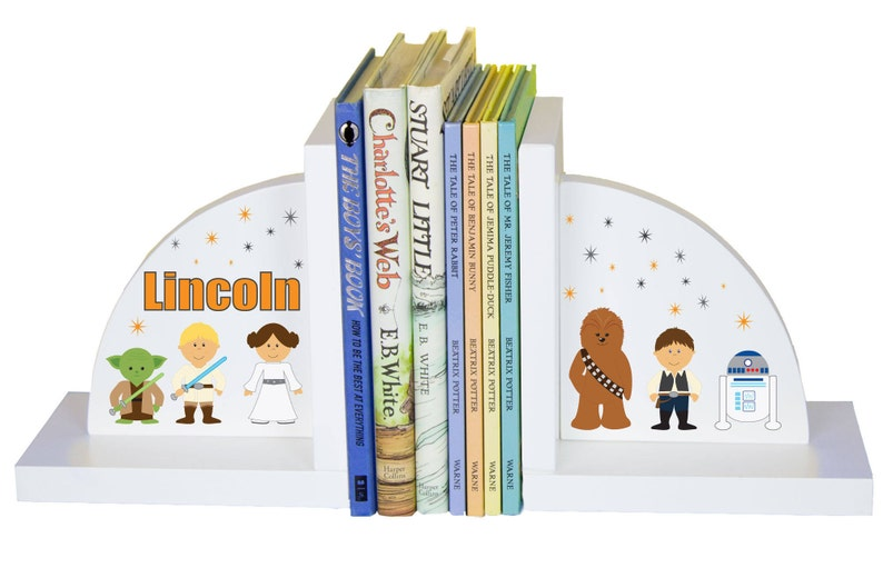 6e25727a794 Personalized Star Wars Bookends Child's Custom Book Ends   Etsy