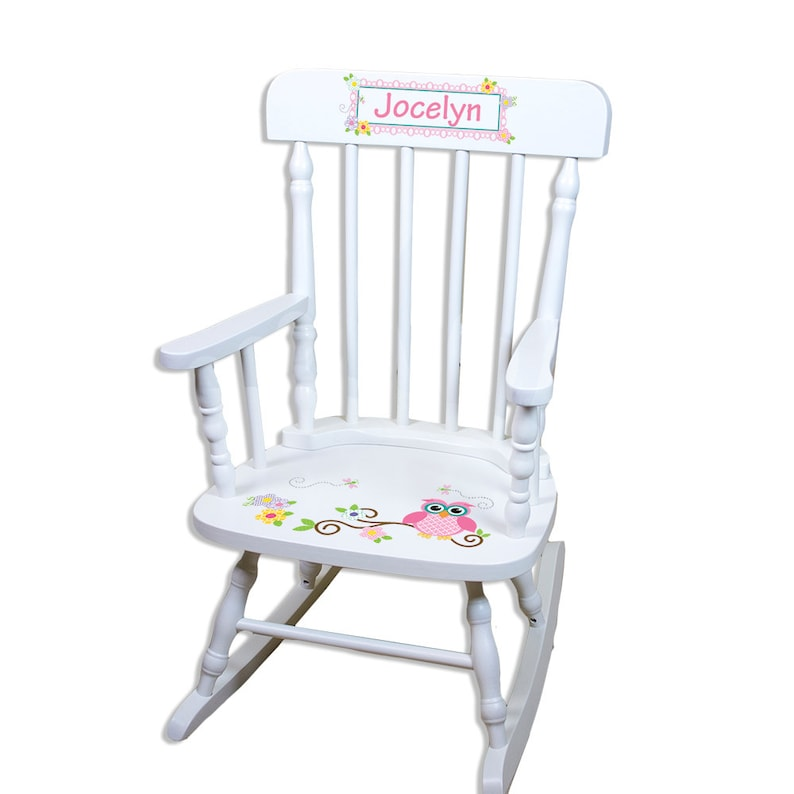 Personalized Rocking Chair W Owl Boys Girls Custom Childs White Rocker W Owls Woodland Nursery Toddlers Chair Kids Rockers Children Spin Whi