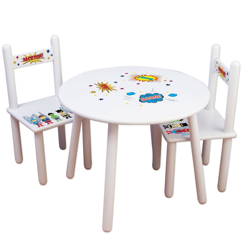 Wondrous Super Hero Kids Table Chair Set Superhero Furniture Bedroom Play Room Personalized Chairs Play Table Superman Marvel Comic Tablesetrnd227 Download Free Architecture Designs Crovemadebymaigaardcom