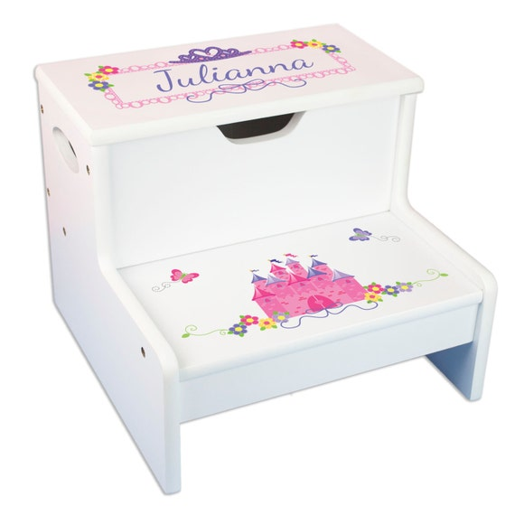 Incredible Girls Personalized Princess Step Stool With Storage Child Wood Stool Great Toddlers Baby Gift Frozen Bedroom Nursery Pink Castle Step Whi307 Ibusinesslaw Wood Chair Design Ideas Ibusinesslaworg