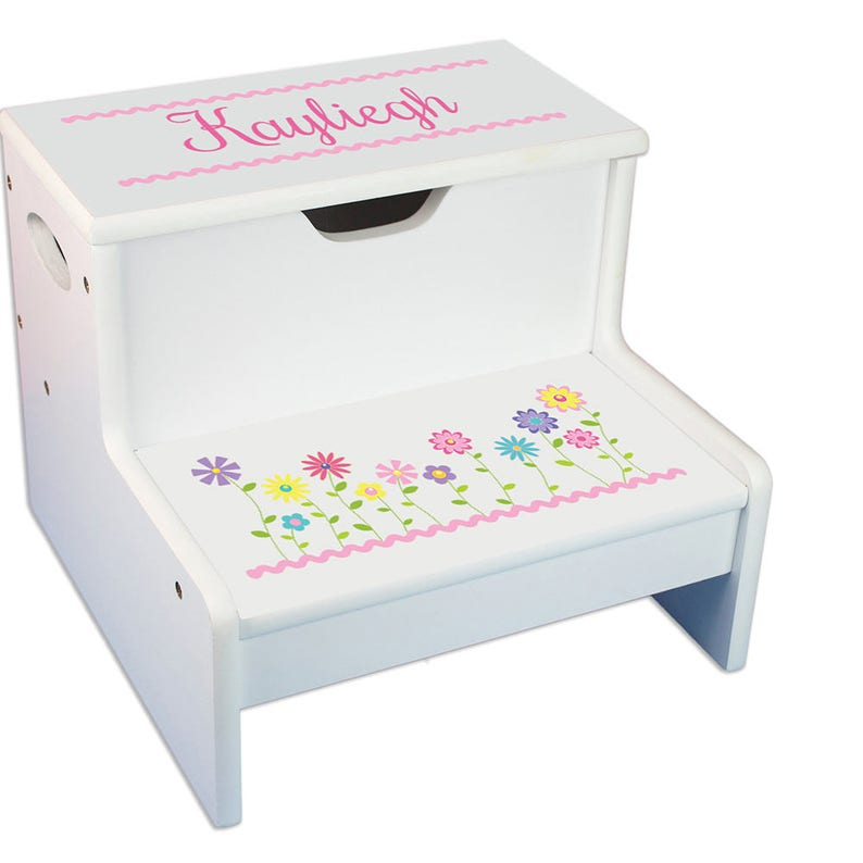 Personalized Stemmed Flowers Children/'s Stool with Storage White Childrens STEP Stools Pink Pastel Lavender Purple  Garden STEP-whi-301