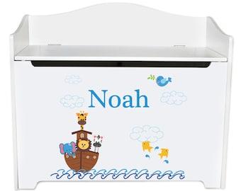 Personalized Noahs Ark Toy Box Bench Custom bench-whi-209