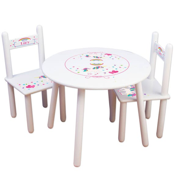 girl 39 s personalized unicorn table chair set kids etsy. Black Bedroom Furniture Sets. Home Design Ideas